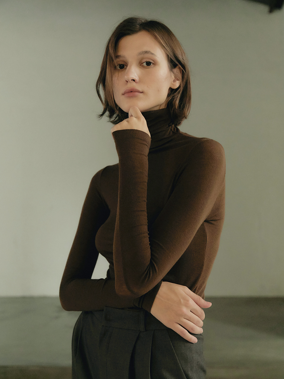 Tencel turtleneck - Brown