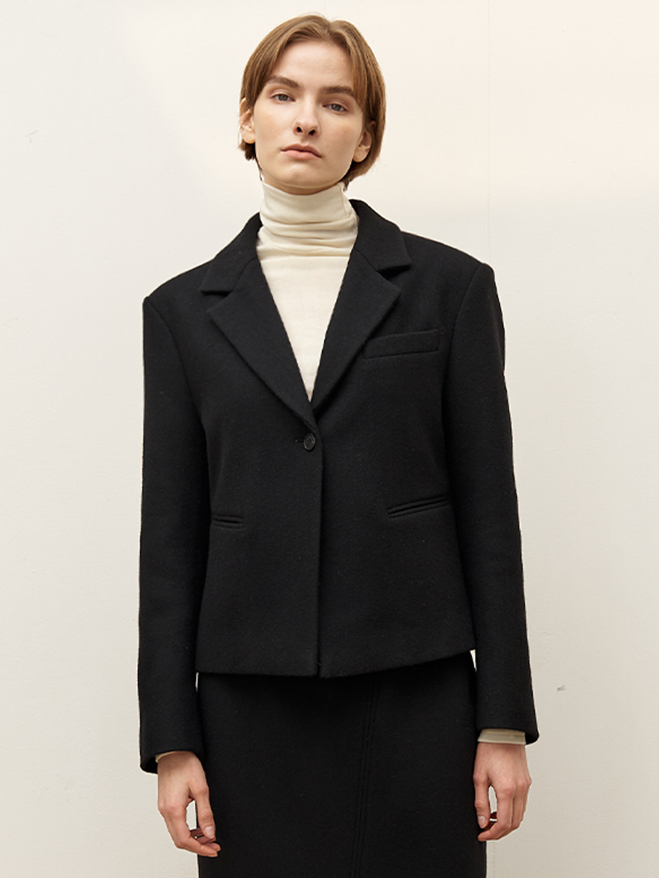 Crop wool jacket - Black