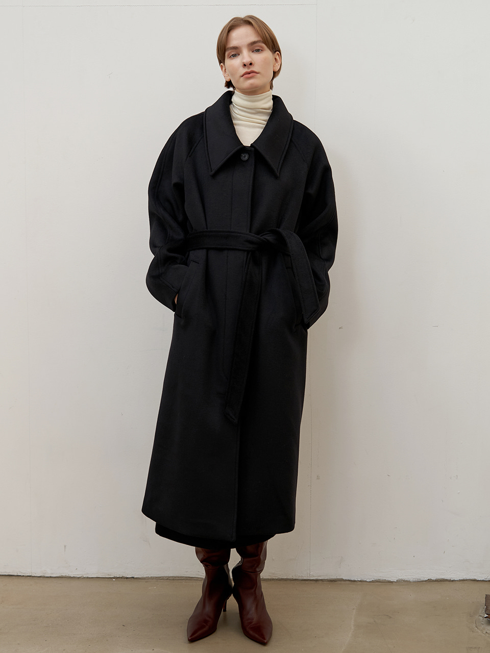 Wool raglan coat - Black