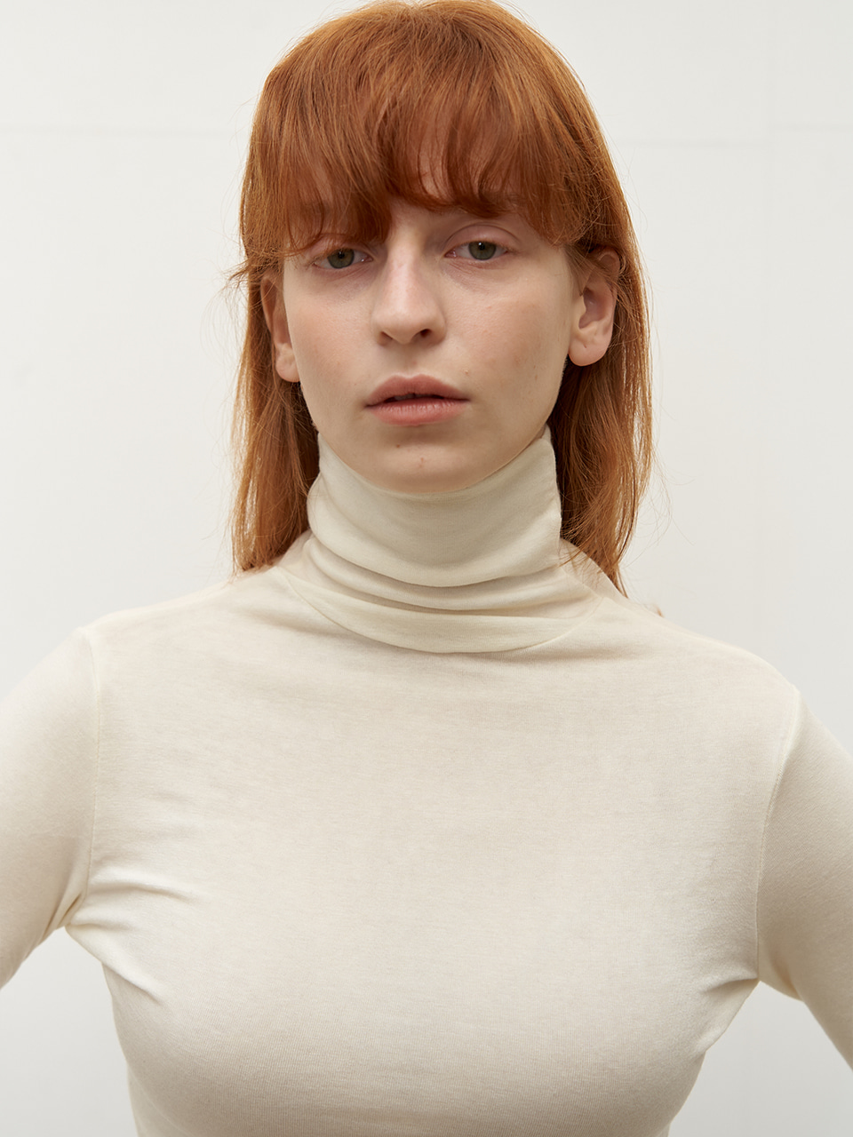 Wool tencel turtleneck - Ivory