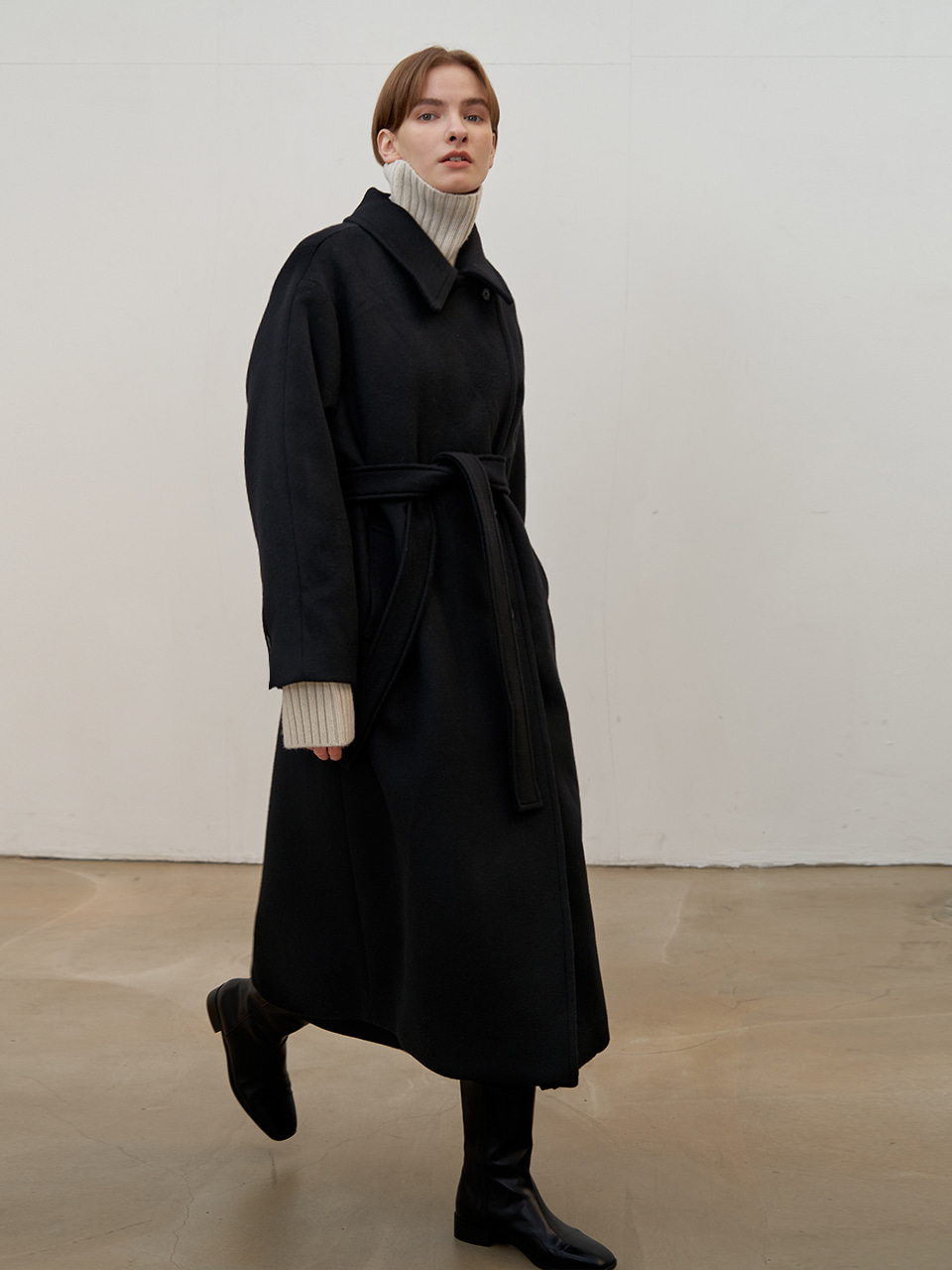 Double wool coat - Black