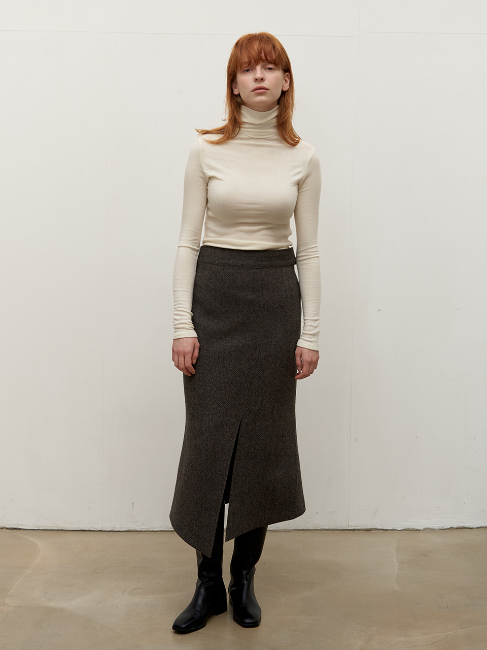 Diagonal wool skirt - Khaki Brown