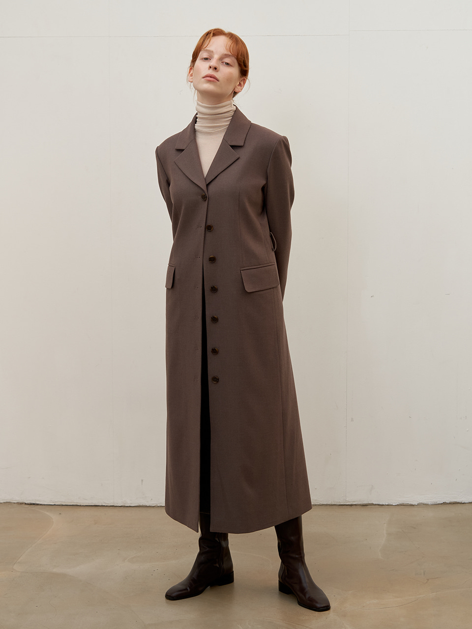 Tailored wool dress - Mocha brown