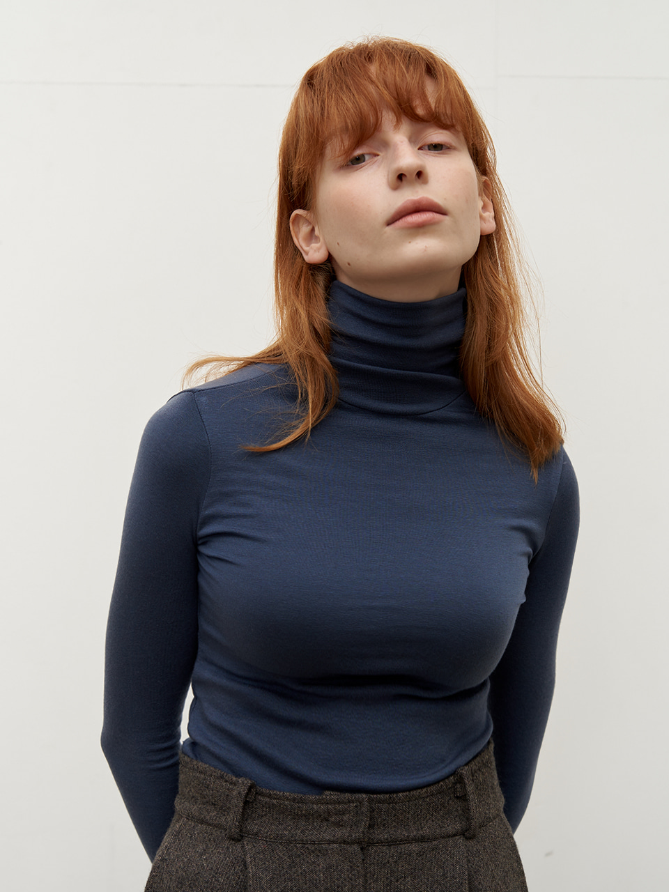 Wool tencel turtleneck - Blue