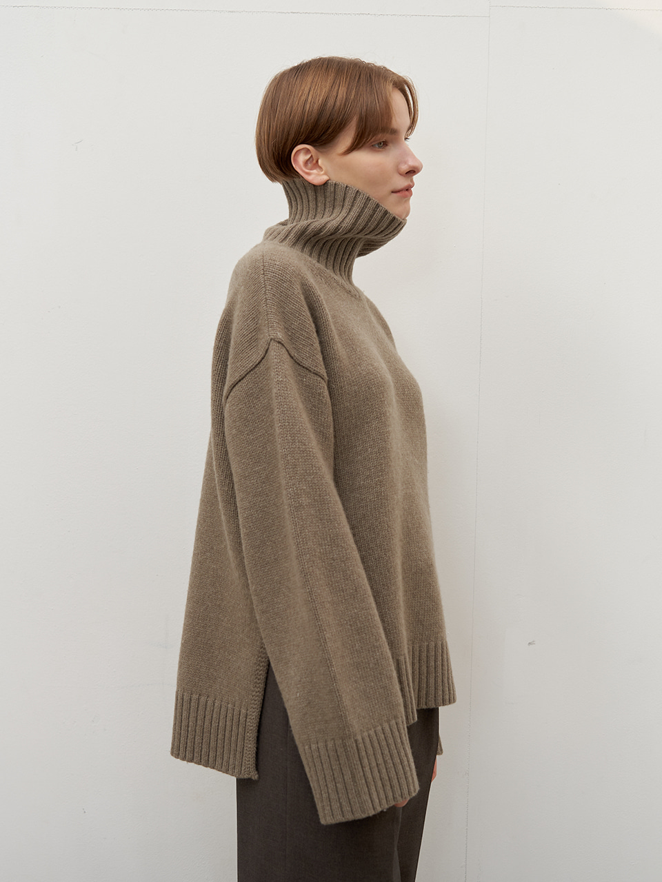 Cashmere turtleneck - Khaki gray