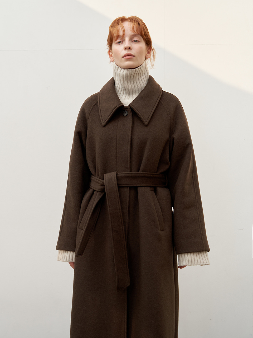 Wool raglan coat - Khaki Brown