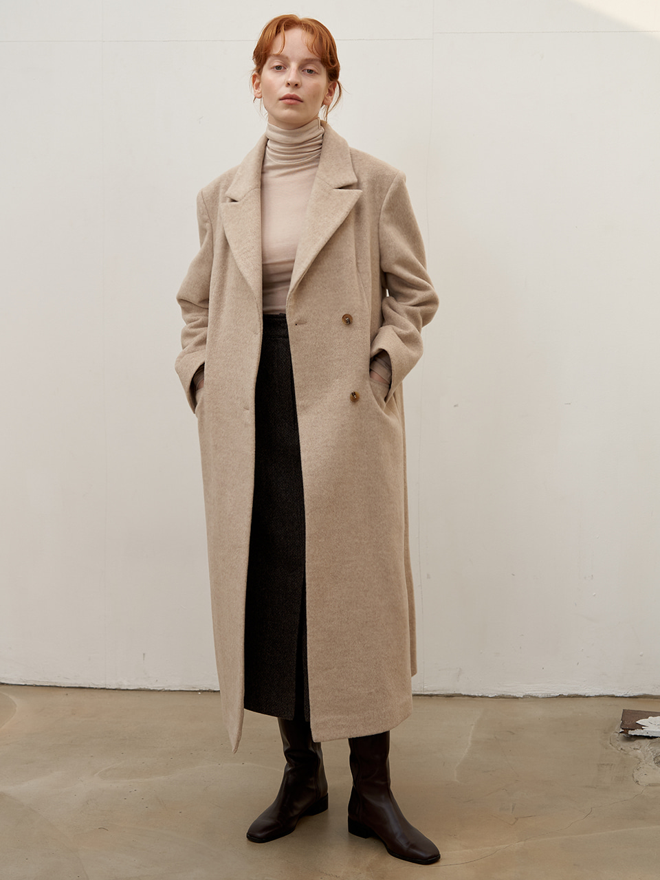 Button wool coat - Oatmeal