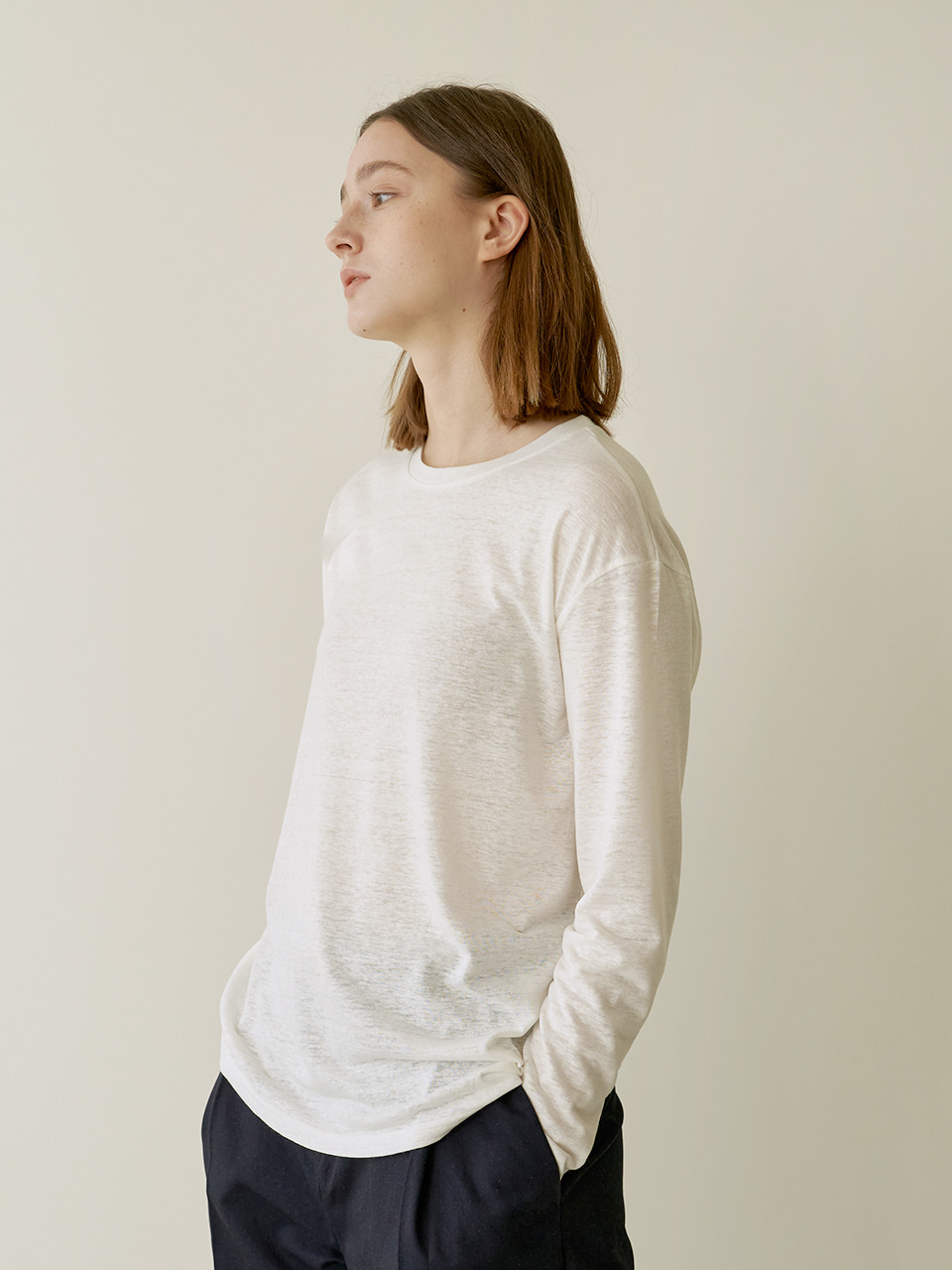 Loose Linen T-shirt  - White
