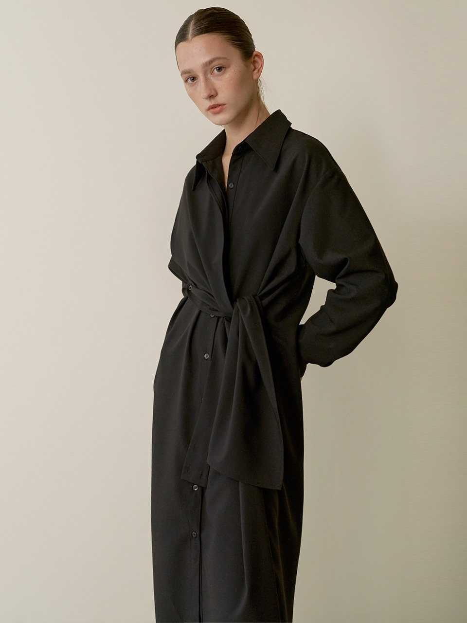 Panel scarf dress - Black