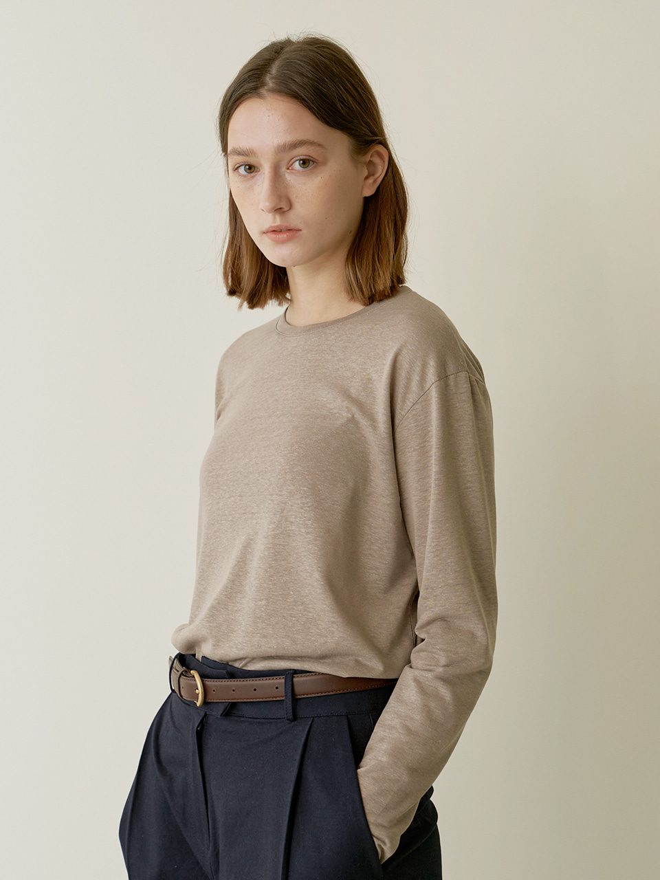 Loose Linen T-shirt - Mud