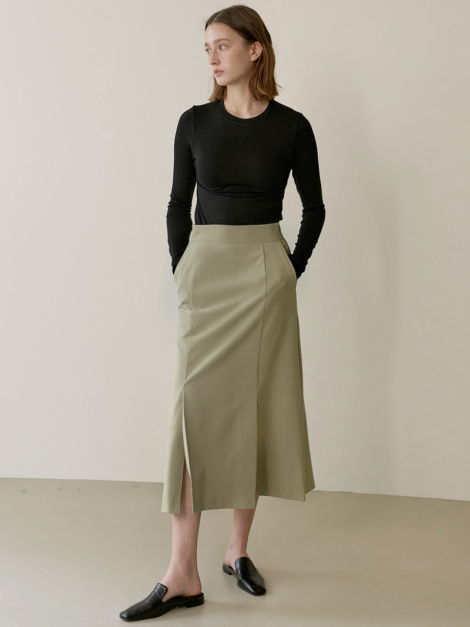 Aline slit skirt - Mint