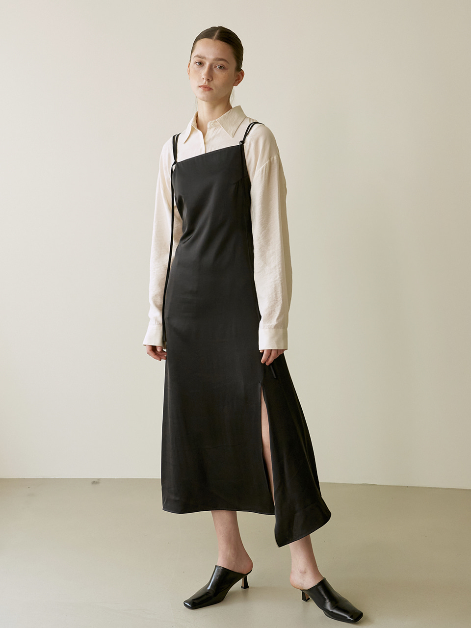 String slip dress - Black