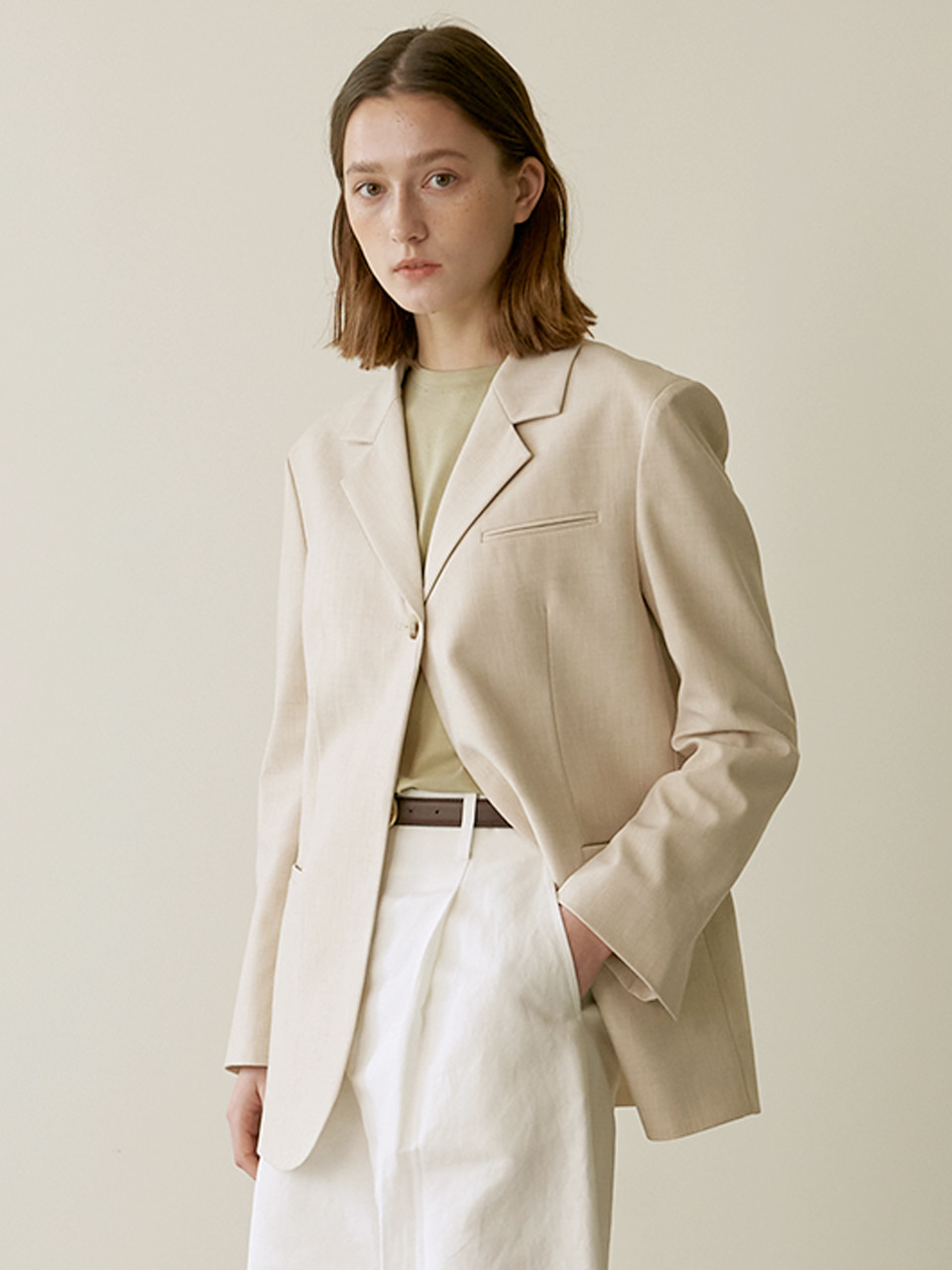 One button jacket - Beige