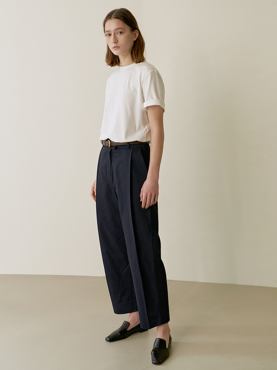 Cotton tuck pants - Navy