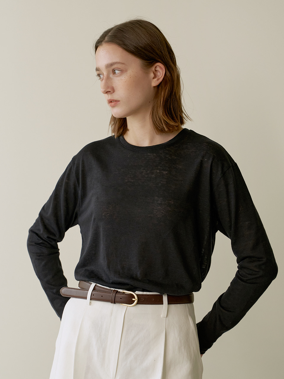 Loose Linen T-shirt - Black