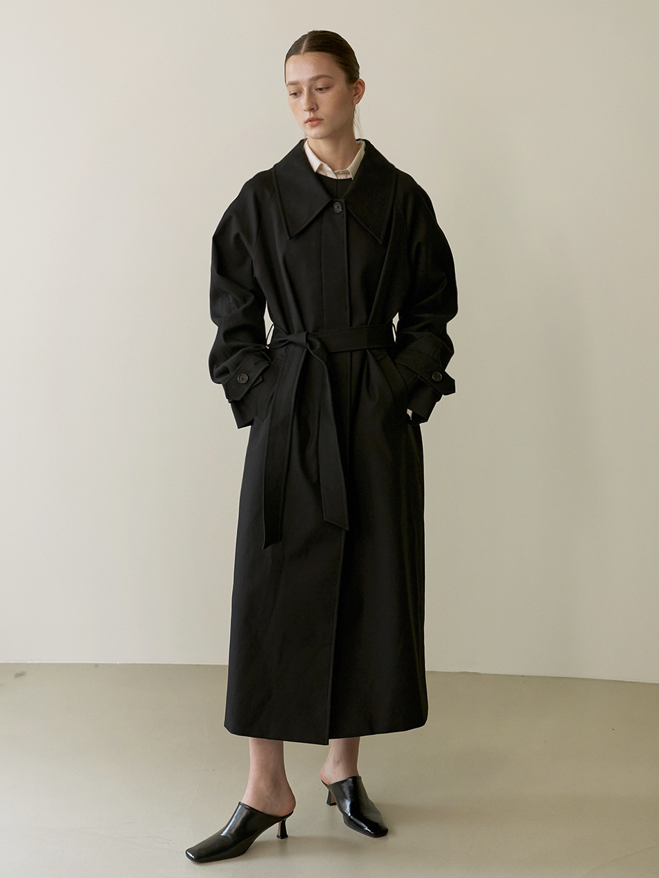 Single trench coat - Black