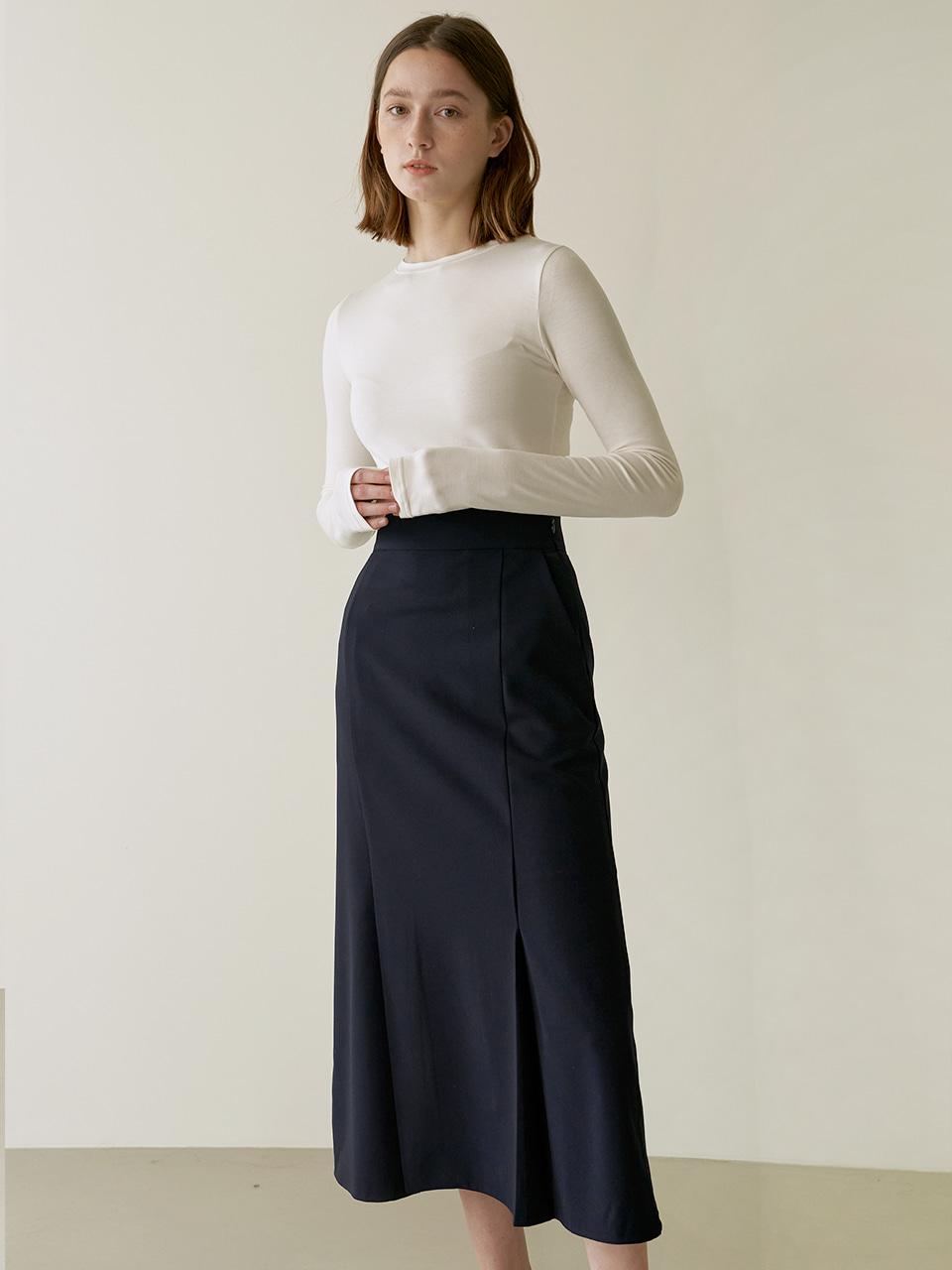 Aline slit skirt - Navy