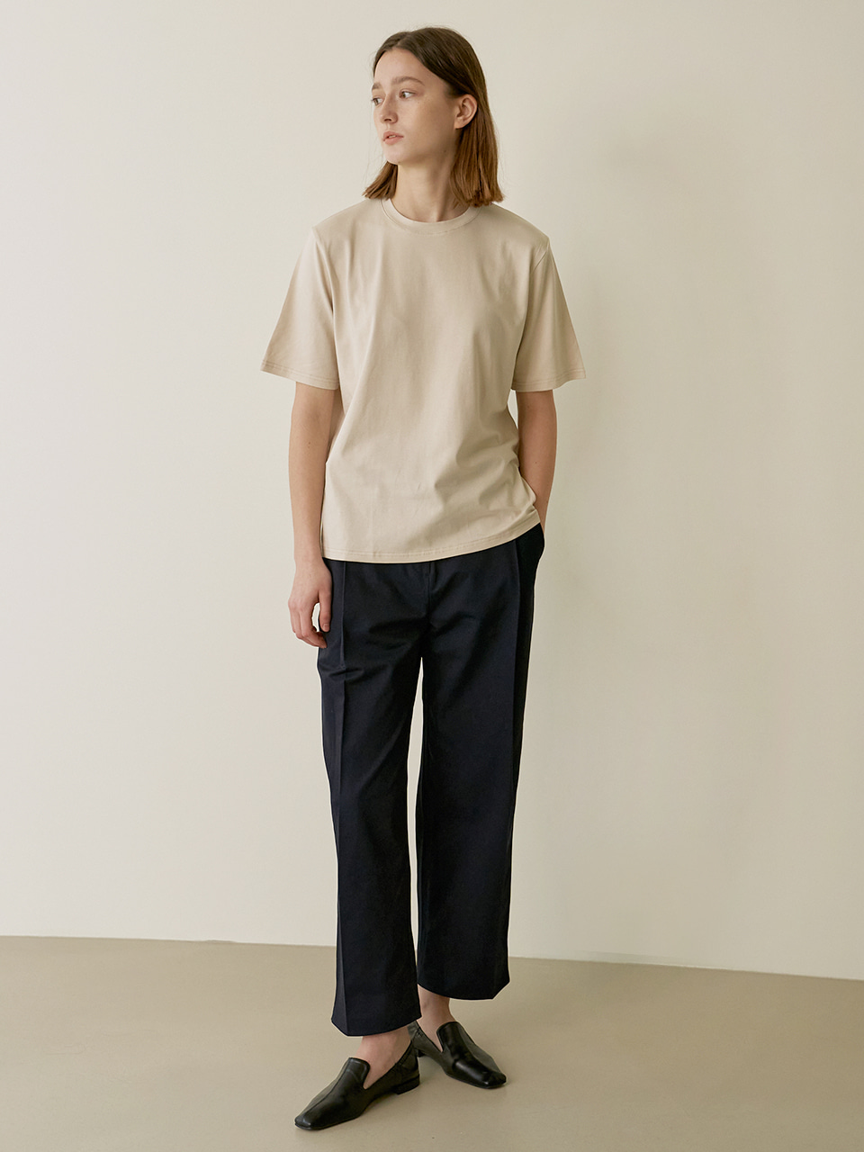 Daily slit T-shirt - Beige