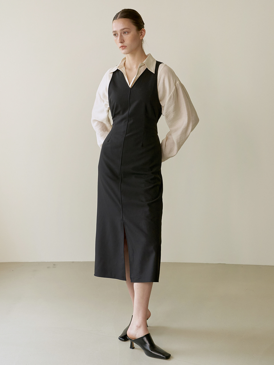 Belted reversible dress - Black