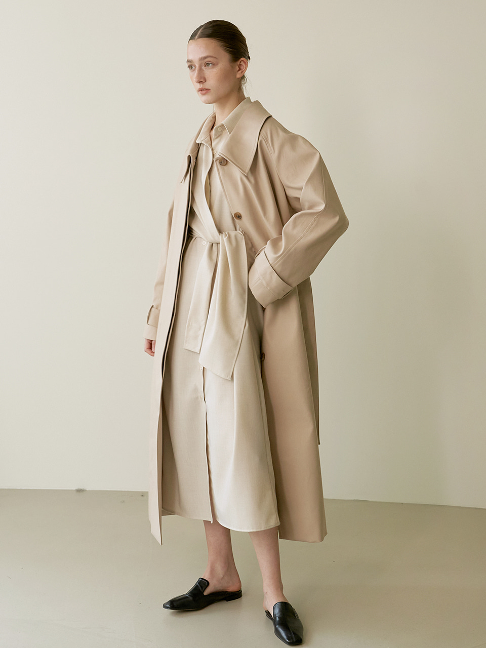 Single trench coat - Beige