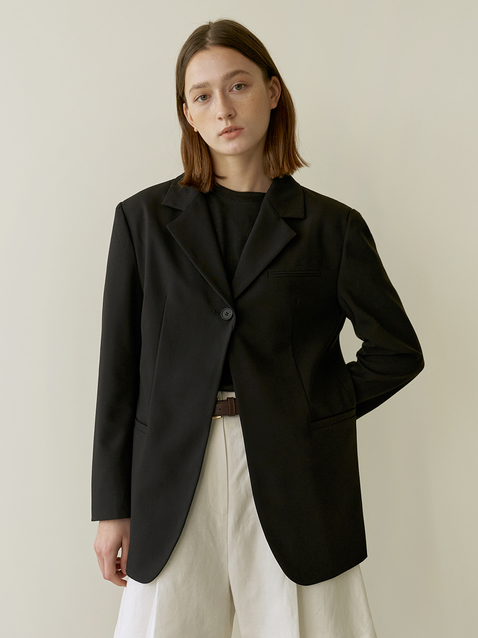 One button jacket - Black